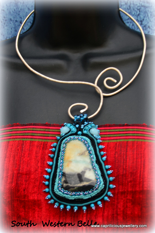 South Western belle - an Amazonite and soutache pendant by Caprilicious Jewellery on a wire torque necklace