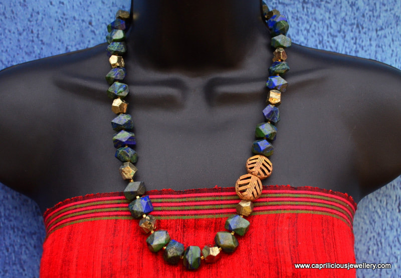 Poppy - bronze clay flower, dyed blue jade necklace, Kenyan lost wax cast beads, handmade wire clasp by Caprilicious Jewellery