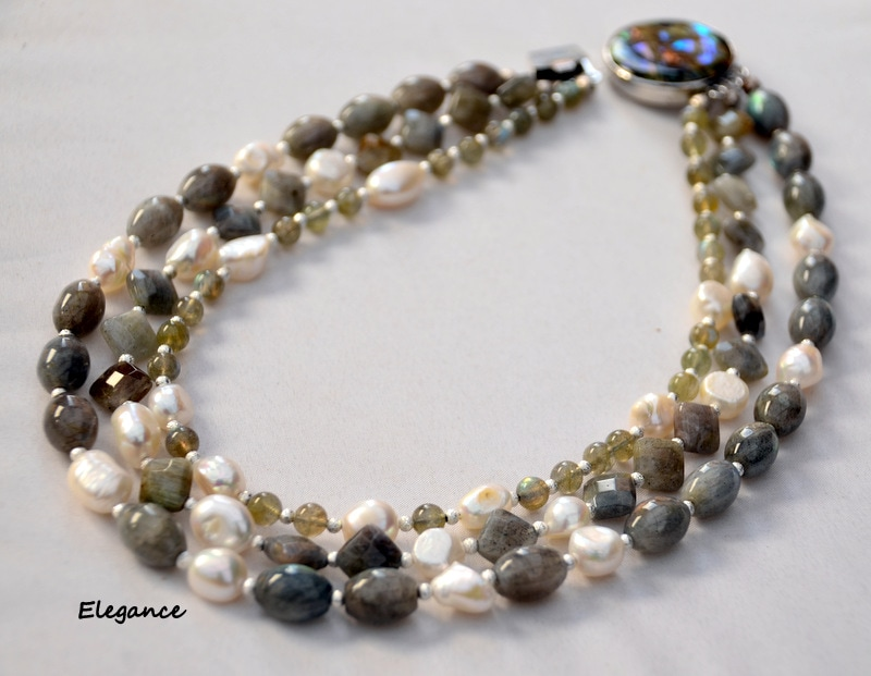 Labradorite and baroque pearls, multi strand necklace, abalone clasp, sophisticated necklace by Caprilicious Jewellery