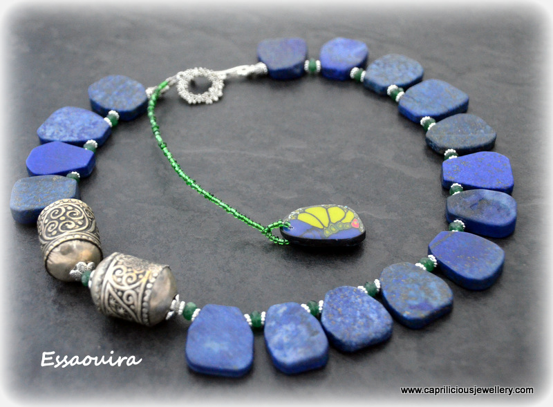 Essaouira by Caprilicious Jewellery  - Lapis lazuli slab nuggets, green onyx, Moroccan beads, amulets, African inspired necklace