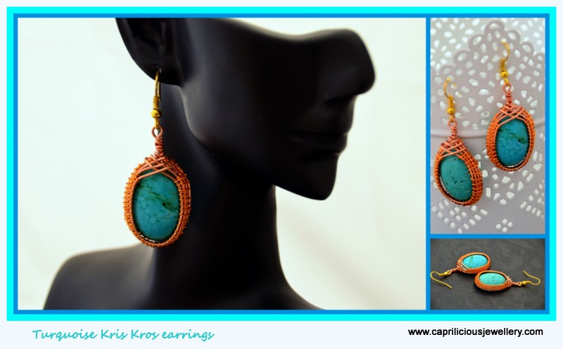 Turquoise and wire earrings by Caprilicious Jewellery