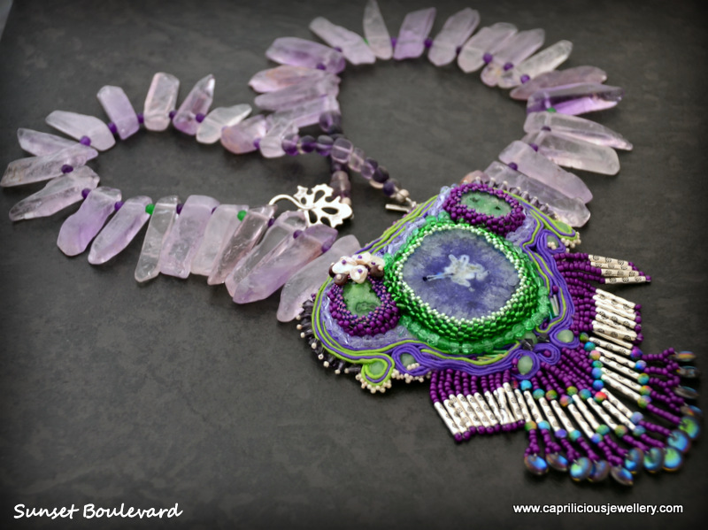 Sunset Boulevard - a solar quartz soutache pendant on a necklace of amethyst slabs by Caprilicious Jewellery
