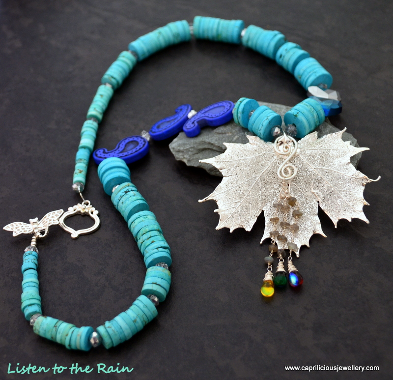 Maple leaf skeleton and turquoise heishi bead necklace by Caprilicious Jewellery