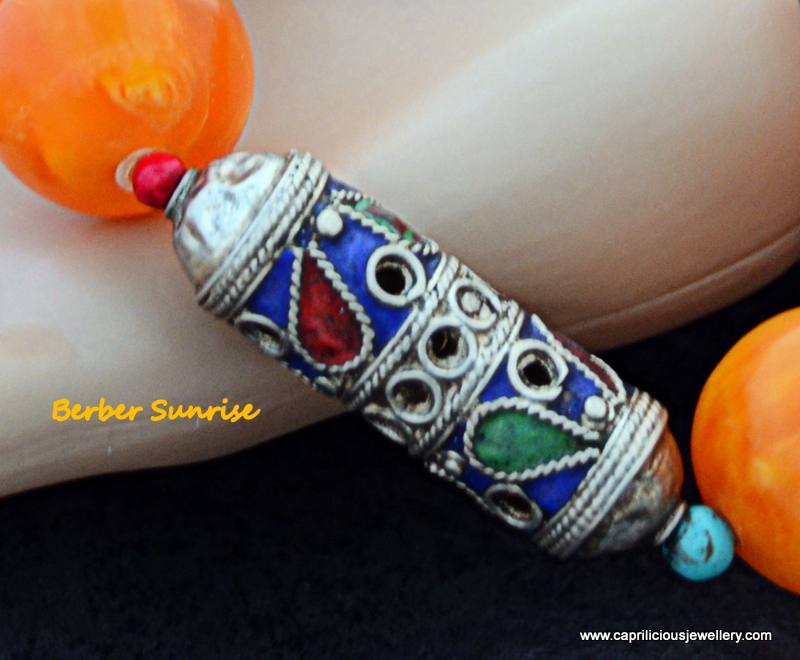 Berber Sunrise- lucite and Moroccan enamelled bead necklace by Caprilicious Jewellery