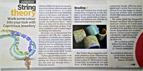 Article about Caprilicious Jewellery in Indulge, Indian Express, Bangalore on 30/01/2015