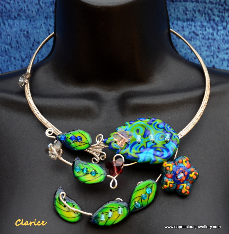 Clarice - polymer clay and wire torque necklace, bracelet and earrings by Caprilicious Jewellery