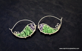 Paisley silver wire , amethyst and jade earrings by Caprilicious Silver