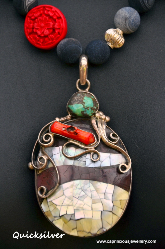 Abalone sterling silver pendant with black frosted agate and cinnabar necklace by Caprilicious Jewellery