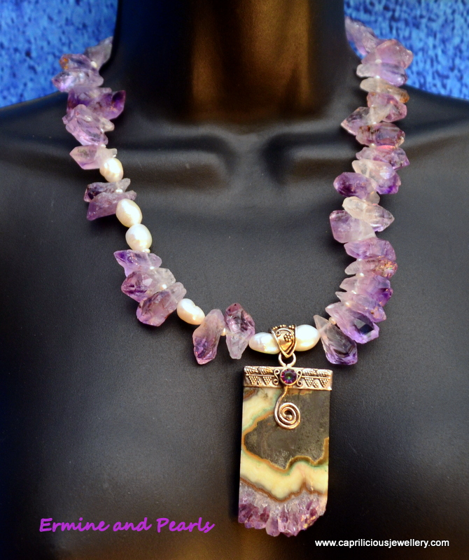 Amethyst and sterling silver necklace by Caprilicious Jewellery