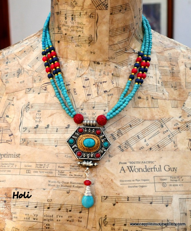 Holi - a Ghau box necklace by Caprilicious Jewellery