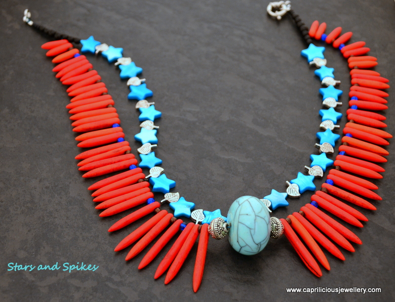 Tribal necklace with howlite spikes by Caprilicious Jewellery