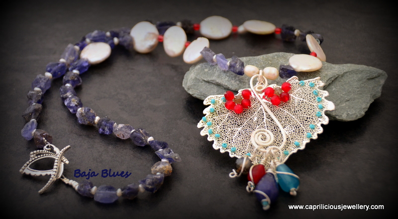 Cottonwood leaf skeleton, kyanite and pearl necklace by Caprilicious Jewellery