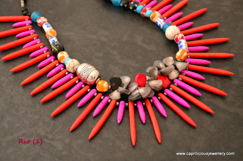 Howlite spikes tribal necklace in bright colours by Caprilicious Jewellery