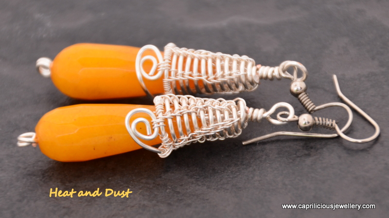 Heat and Dust - earrings with hand made wire bead caps by Caprilicious Jewellery