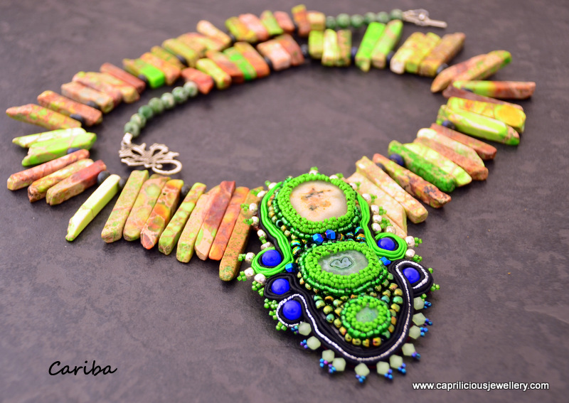 Cariba - solar quartz, beadwork and soutache pendant, sea sediment jasper tusk beads by Caprilicious Jewellery