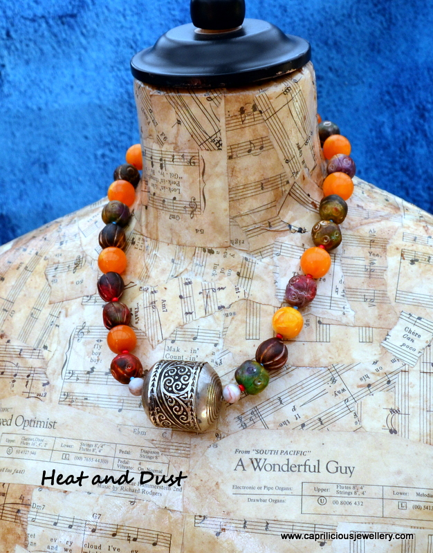 Heat and Dust - polymer clay beads and Berber bead necklace by Caprilicious Jewellery