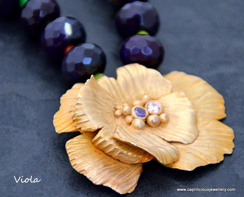 Viola - bronze clay flower, purple agate necklace, handmade wire clasp by Caprilicious Jewellery