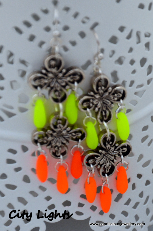 City Lights - neon Czech glass and pewter earrings by Caprilicious Jewellery