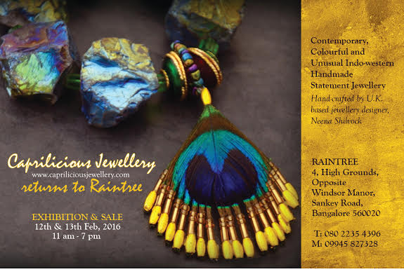 Invitation to CAPRILICIOUS Jewellery's exhibition at Raintree, Bangalore, 2016