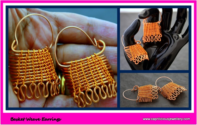 Basket Weave earrings in non tarnish copper wire by Caprilicious Jewellery