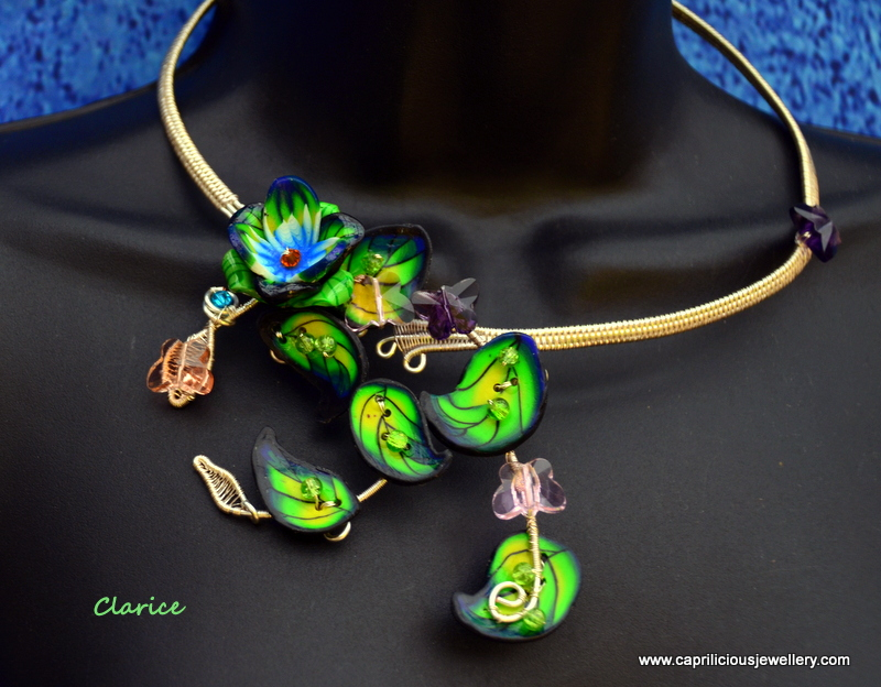 Polymer clay and wire torque by Caprilicious Jewellery