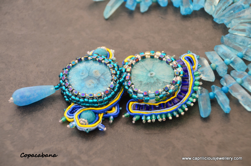Soutache jewellery, solar quartz pendant and quartz needles by Caprilicious Jewellery
