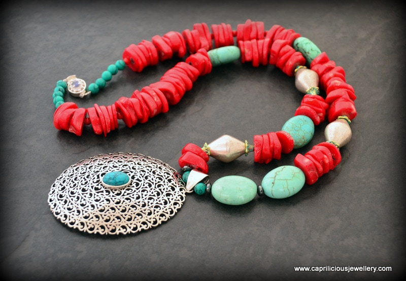 Southwestern colours - bamboo coral, turquoise and sterning silver, long necklace by Caprilicious Jewellery