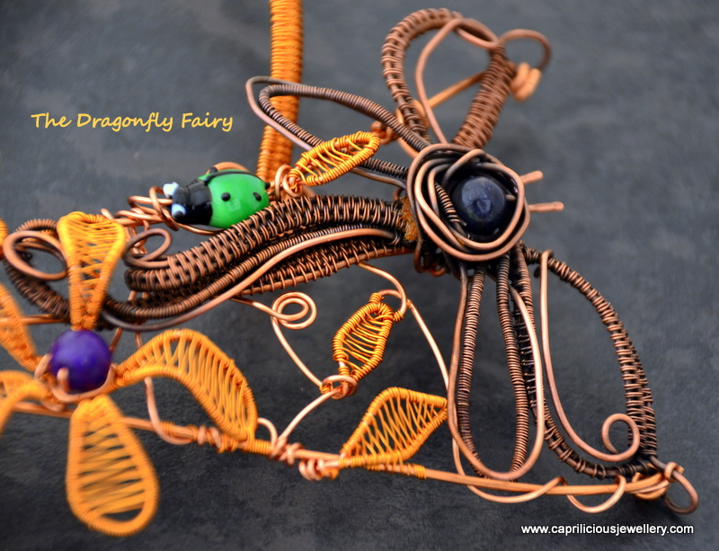 wire torque with wire flowers, dragonfly leaves and vines by Caprilicious Jewellery