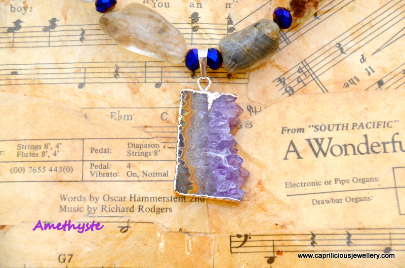 Améthyste - lodolite and amethyst geode necklace from Caprilicious Jewellery