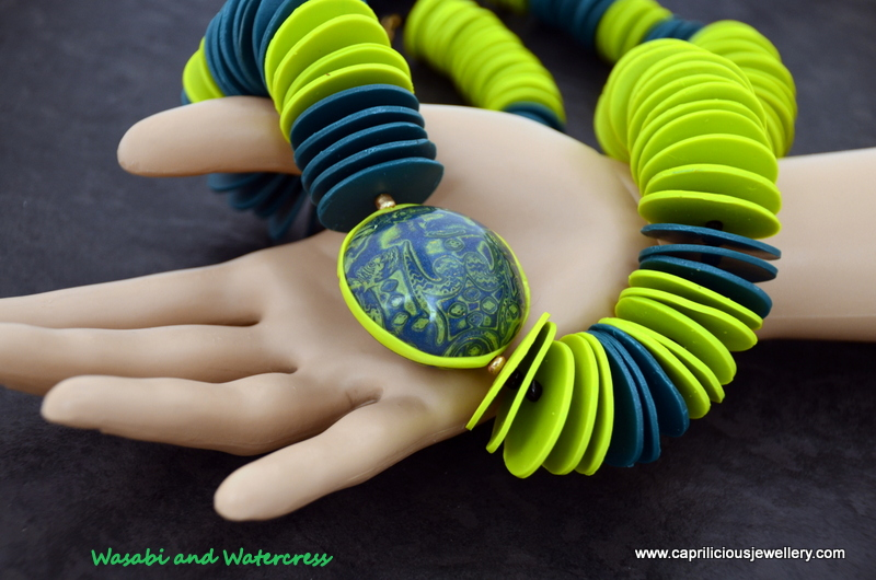 Wasabi and Watercress - polymer clay wafer chip beads and a Mokume Gane lentil bead by Caprilicious Jewellery