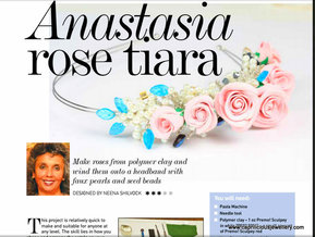 Polymer clay floral tiara tutorial in Bead and Jewellery Magazine by Neena Shilvock of Caprilicious Jewellery