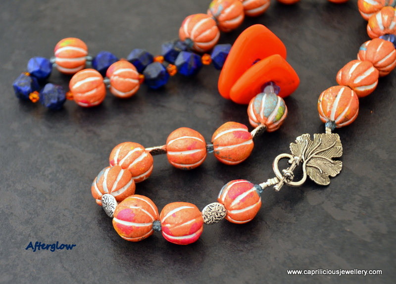 Afterglow - Mixed media necklace by Caprilicious Jewellery