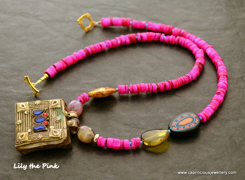 Lily The Pink, with an Afghani tribal Kuchi pendant and shocking pink beads by Caprilicious Jewellery