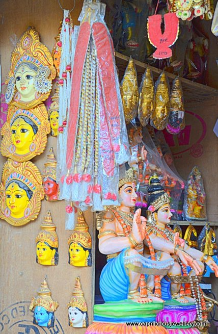 Painted faces of various Gods and Godesses, Devaraja Market Mysore