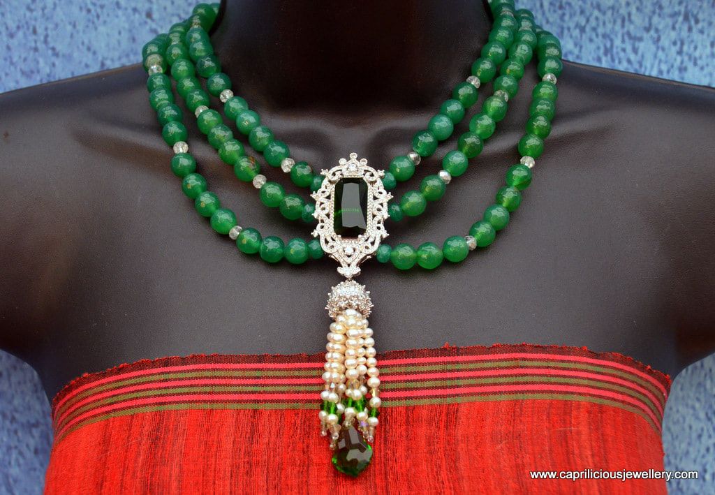 Baroque green onyx necklace with a diamante and green quartz pendant with a pearl tassel by Caprilicious Jewellery