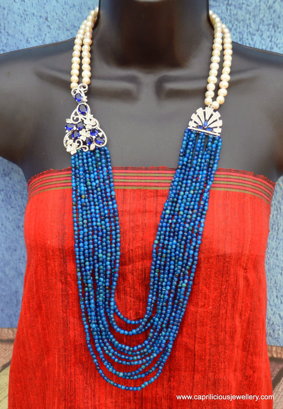 Micro pave and blue agate necklace