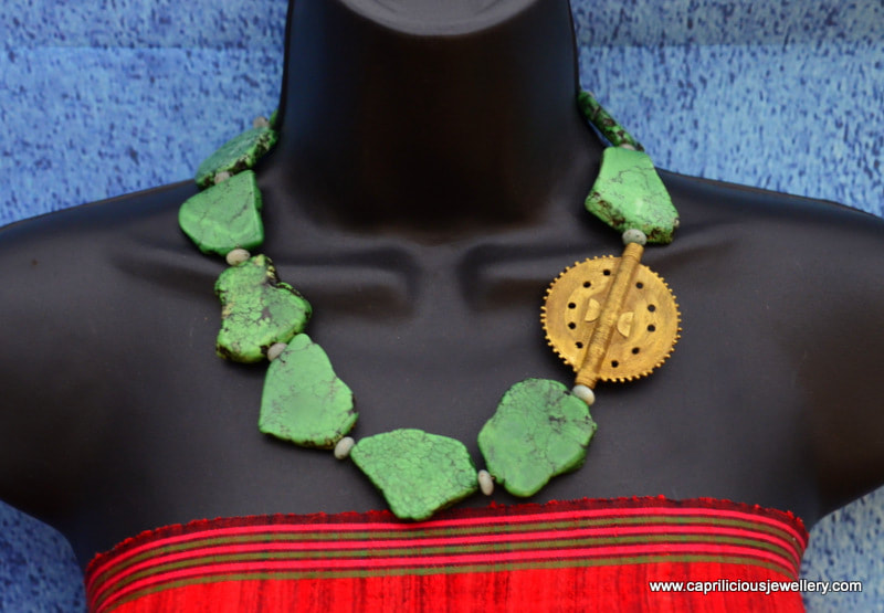 Turquoise slab nugget necklace with African bead by Caprilicious Jewellery