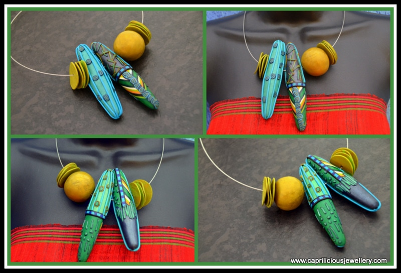 Reversible Ultralight polymer clay necklaces made by Caprilicious Jewellery.