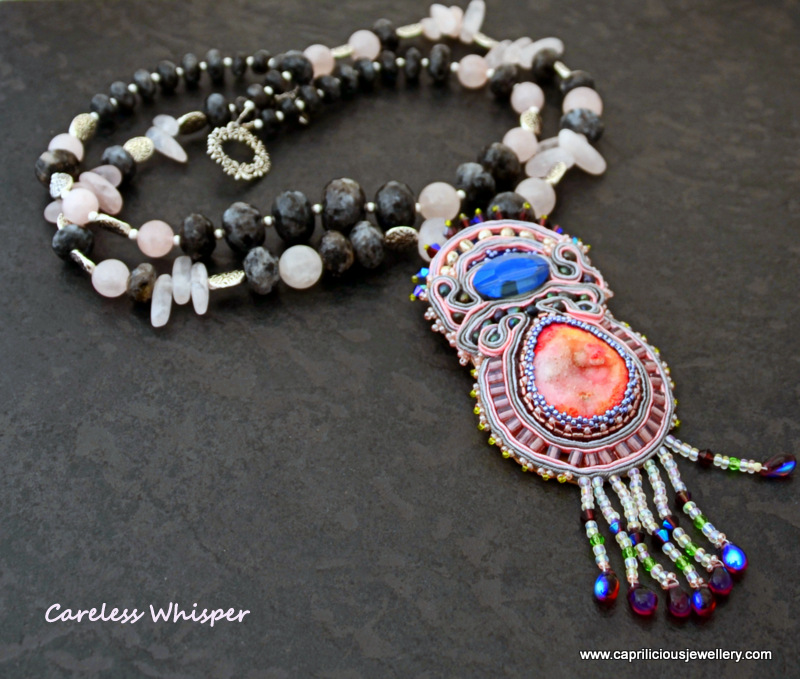 Beadwork and Soutache pendant, druzy, spectrolite, rose quartz, multi strand necklace by Caprilicious Jewellery