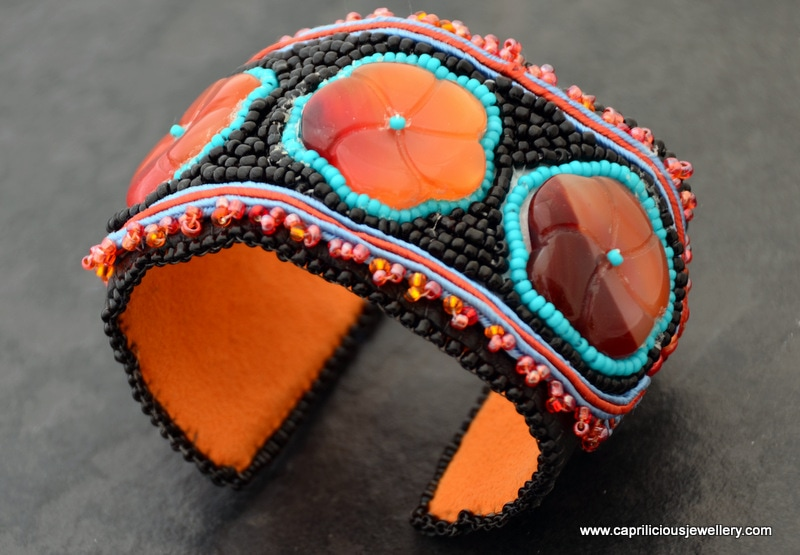 Carnelian flower and soutache/ beadwork cuff bracelet by Caprilicious Jewellery