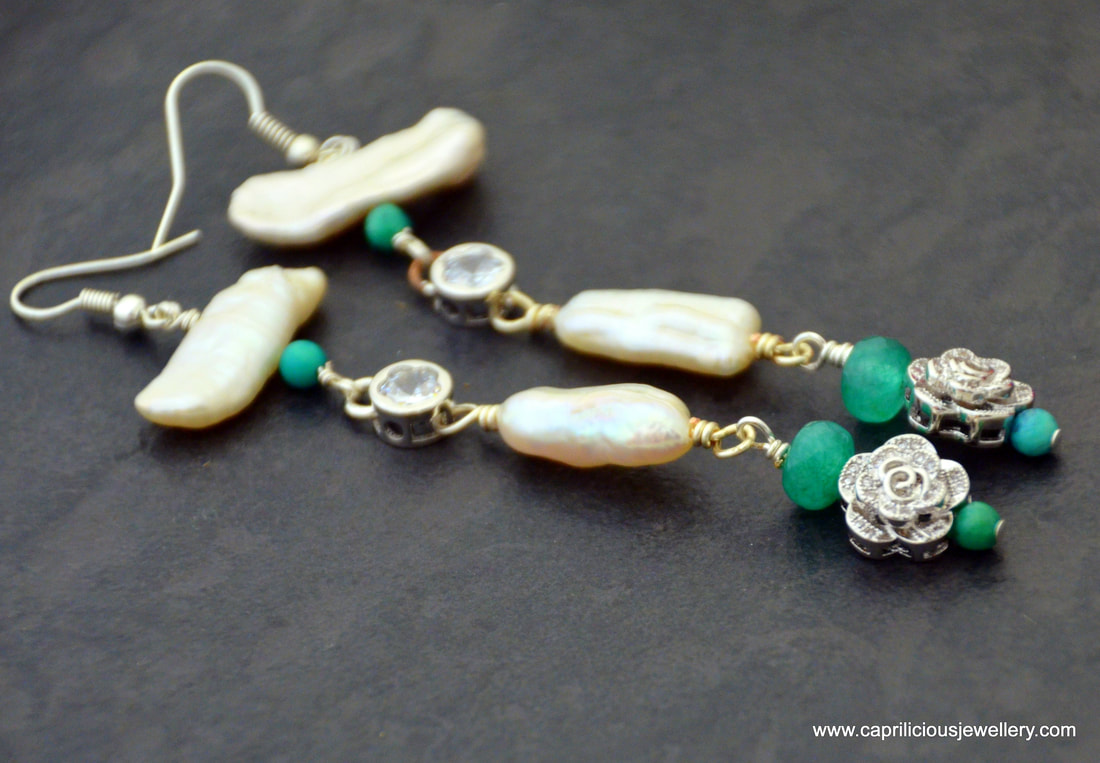 earrings, onyx green, handmade, biwa pearls