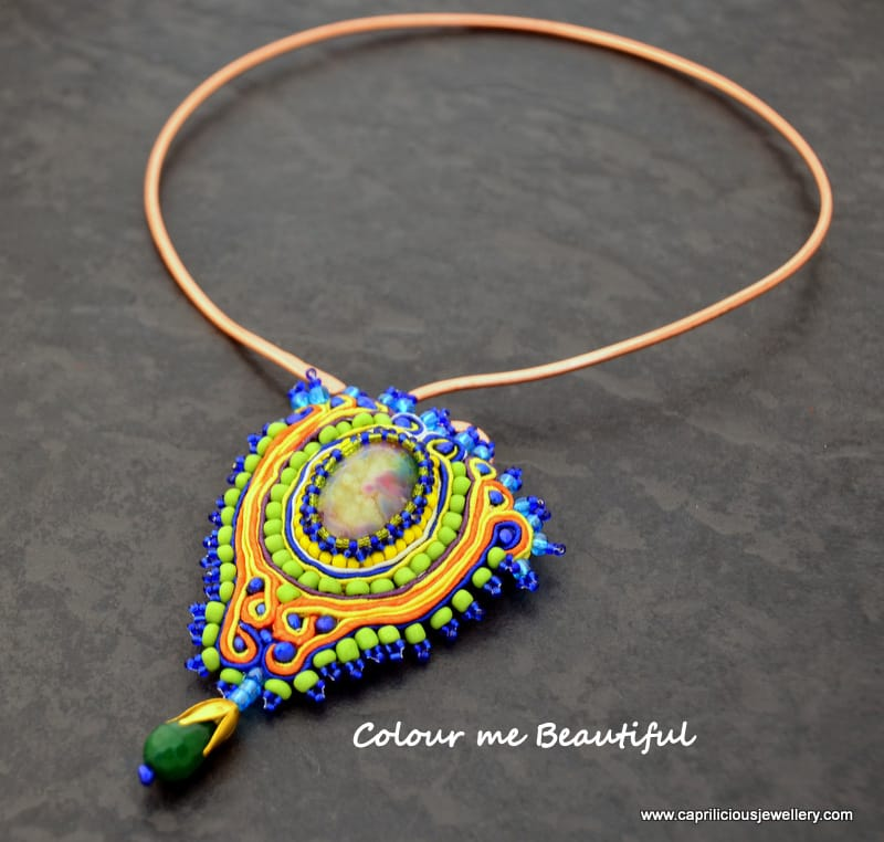 Colour Me Beautiful - colourful soutache and druzy pendants on non tarnish copper wire torque necklaces by Caprilicious Jewellery