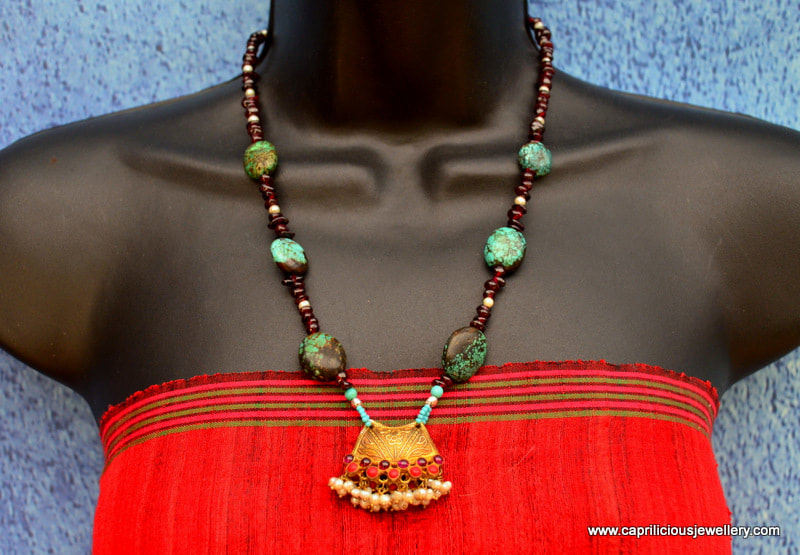 Garnet and turquoise necklace by Caprilicious Jewellery