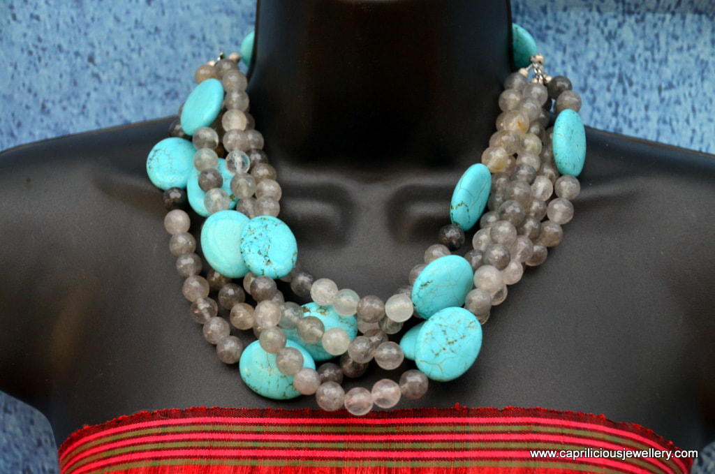 Cloud agate and turquoise multi strand necklace by Caprilicious Jewellery
