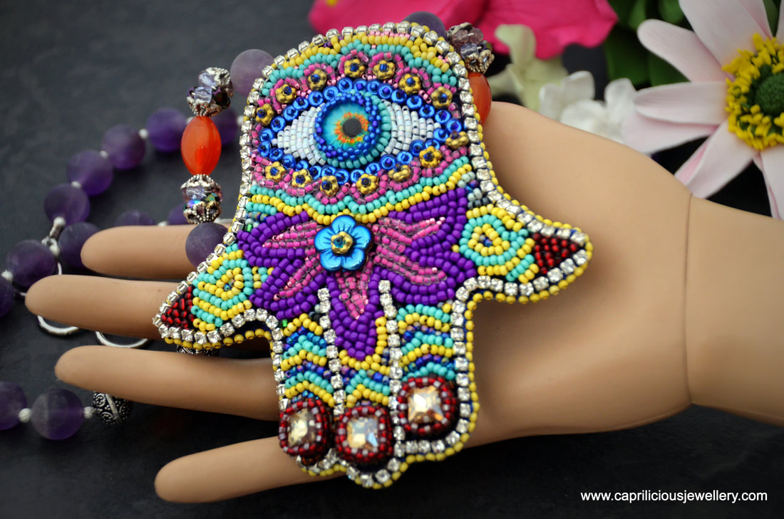 Hamsa, amulet, protection jewellery, colourful jewellery, hand embroidered, beaded necklace, amethyst, carnelian