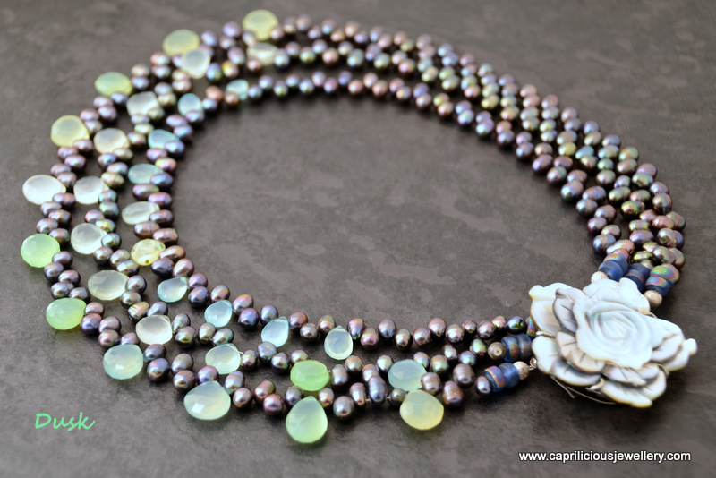 Dusk - three strands of peacock pearls, prehnite teardrop beads, carved shell clasp by Caprilicious Jewellery
