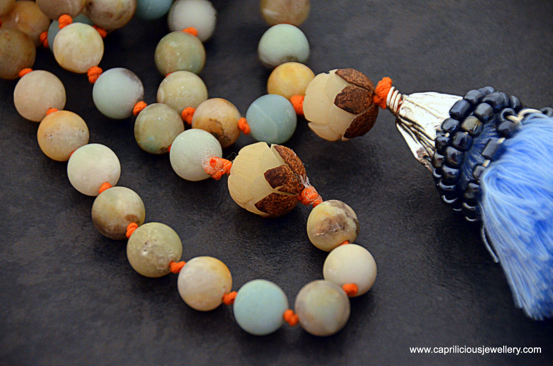 Zen - an amazonite mala with Bodhi seeds and cotton tassel by Caprilicious Jewellery