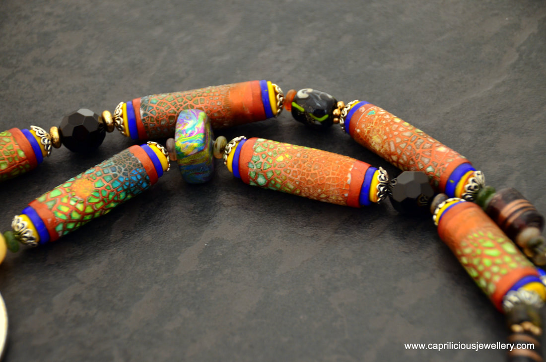 Octarine - a tribal necklace with polymer clay and Kroma Krackle  beads by Caprilicious Jewellery