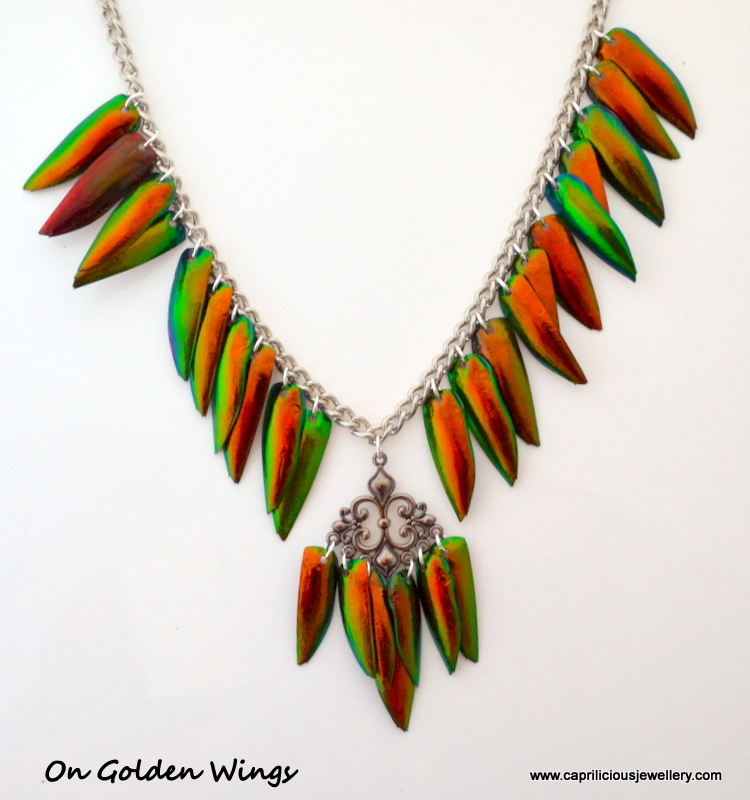 Beetle wing jewellery by Caprilicious