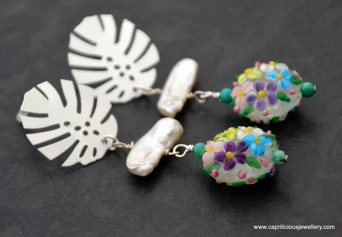 earrings, lamp work glass beads, handmade, biwa pearls